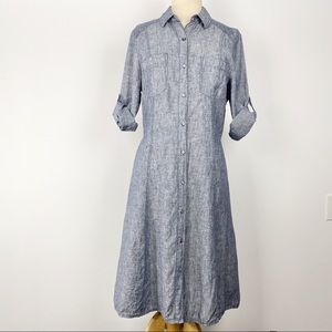 Max Studio blue linen chambray shirt dress XL